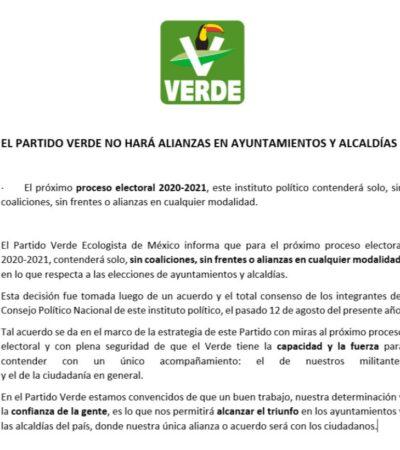 Anuncia el Partido Verde que irá solo en elecciones de 2021