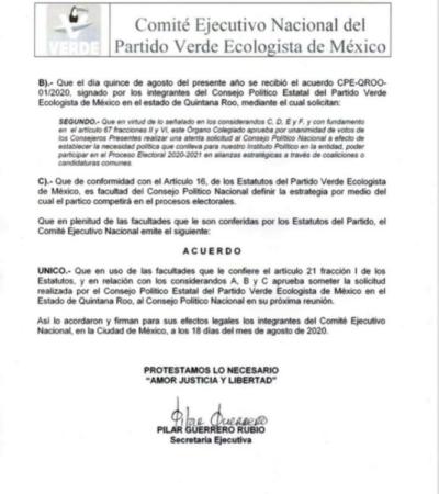 Acepta considerar PVEM nacional solicitud de ir en alianza en Quintana Roo
