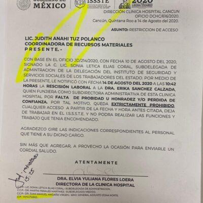 """""""ESTO ES UNA MENTADA"""": Destituyen a polémica subdirectora del ISSSTE Cancún… ¡y seis días después regresa al mismo puesto!"""
