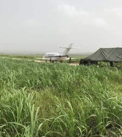 Guardia Nacional escoltan transporte de presunta narcoavioneta en Chetumal