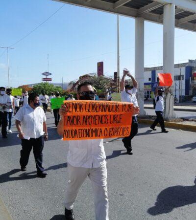 EN VIVO   Operadores de transportes turísticos marchan en Cancún en demanda de apoyos, tras cinco meses de no tener actividades por la caída de turismo   #preliminar