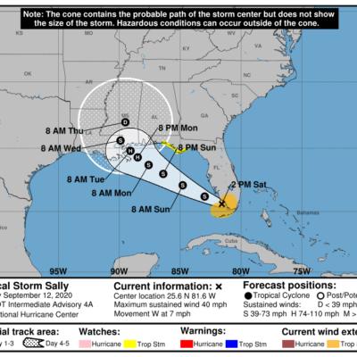 SE FORMA TORMENTA TROPICAL AL SUROESTE DE FLORIDA: 'Sally' se adentrará al Golfo de México y amenaza la costa sur de EU