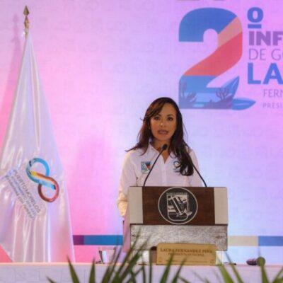 RINDE LAURA FERNÁNDEZ SU SEGUNDO INFORME DE GOBIERNO: Destaca alcaldesa la autonomía financiera de Puerto Morelos y llama a ciudadanos a trabajar unidos para lograr la reactivación económica