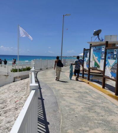 Bañistas deben respetar protocolos sanitarios al ingresar a las playas públicas de Cancún, advierte Zofemat
