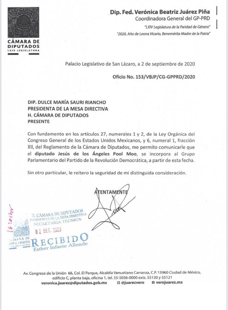 Vuelve Jesús Pool al PRD tras elección de Dulce María Sauri como presidenta de la Cámara de Diputados