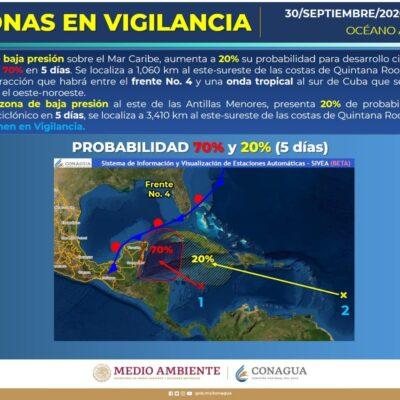 SURGEN SISTEMAS DE BAJA PRESIÓN EN RUTA HACIA LA PENÍNSULA: Vigilan en Quintana Roo condiciones climatológicas en el Caribe