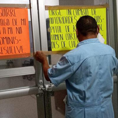 Trabajador enojado por adeudo salarial bloquea accesos del hospital integral de Kantunilkín