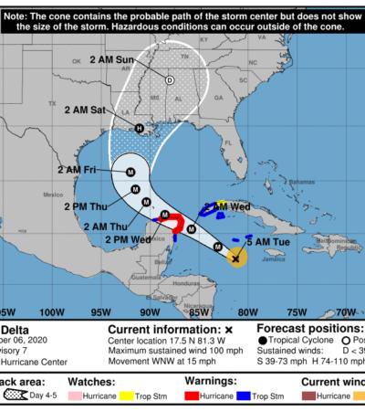 ANTICIPAN GOLPE DIRECTO DE 'DELTA' EN LA ZONA NORTE: Huracán alcanza categoría 2; Quintana Roo emite 'alerta naranja'