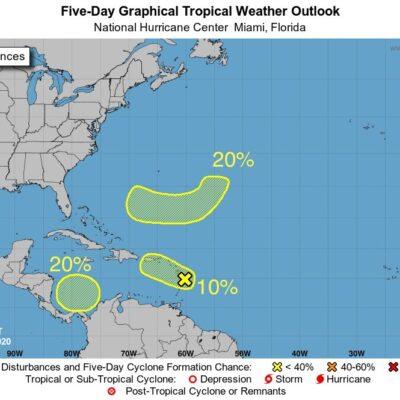 VIGILAN TRES ZONAS DE POSIBLE DESARROLLO CICLÓNICO: Dos sistemas de baja presión en el Caribe, aún con muy poca probabilidad de evolucionar a huracanes