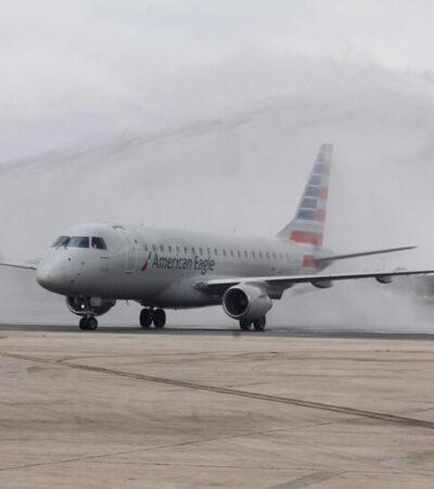 Reinicia American Airlines operaciones de Miami a Mérida con tres vuelos directos a la semana y en noviembre volará diario