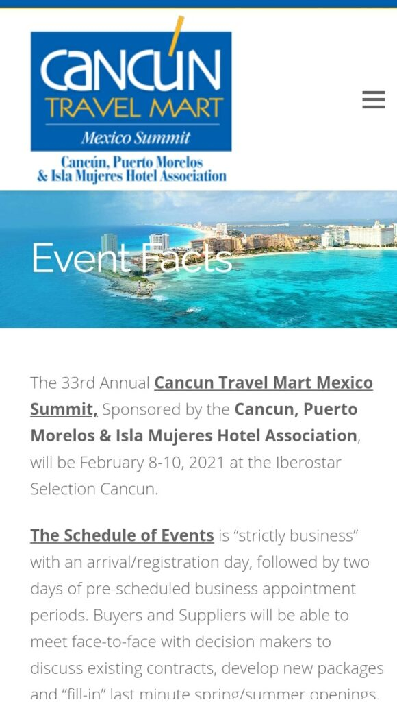 Posponen para febrero del 2021 el Cancún Travel Mart