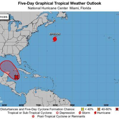 ACTUALIZACIÓN METEOROLÓGICA: Prevén que sistema de baja presión se convierta en depresión tropical esta noche; se ubica a 500 km al sureste de Cancún