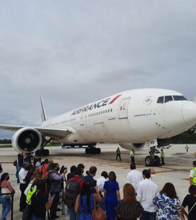 SE RECUPERAN CONEXIONES AÉREAS CON EUROPA: Arriba a Cancún primer vuelo de Air France tras 7 meses de ausencia al Caribe mexicano