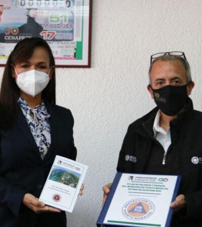 Laura Fernández entrega al Cenapred el Atlas de Riesgos de Puerto Morelos